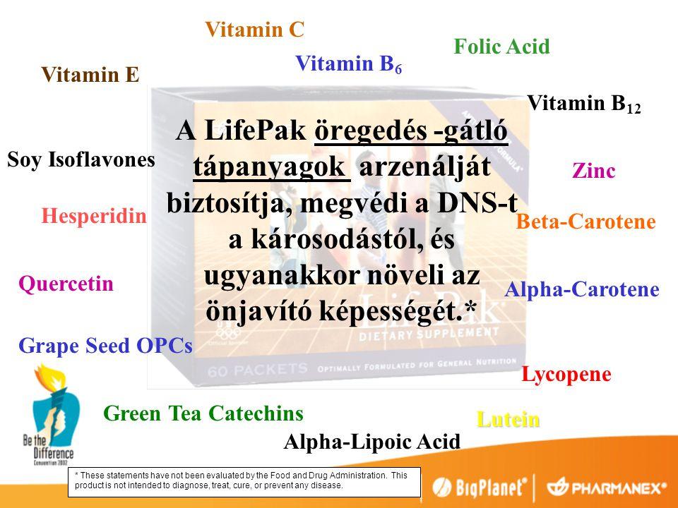 A LifePak öregedés -gátló tápanyagok arzenálját biztosítja, megvédi a DNS-t a károsodástól, és ugyanakkor növeli az önjavító képességét.* Vitamin E Vitamin C Vitamin B 6 Folic Acid Vitamin B 12 Zinc Beta-Carotene Alpha-Carotene Lycopene Lutein Alpha-Lipoic Acid Green Tea Catechins Grape Seed OPCs Quercetin Hesperidin Soy Isoflavones * These statements have not been evaluated by the Food and Drug Administration.