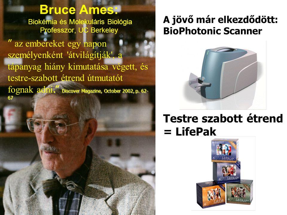 Bruce Ames: Biokémia és Molekuláris Biológia Professzor, UC Berkeley A jövő már elkezdődött: BioPhotonic Scanner. Discover Magazine, October 2002, p.