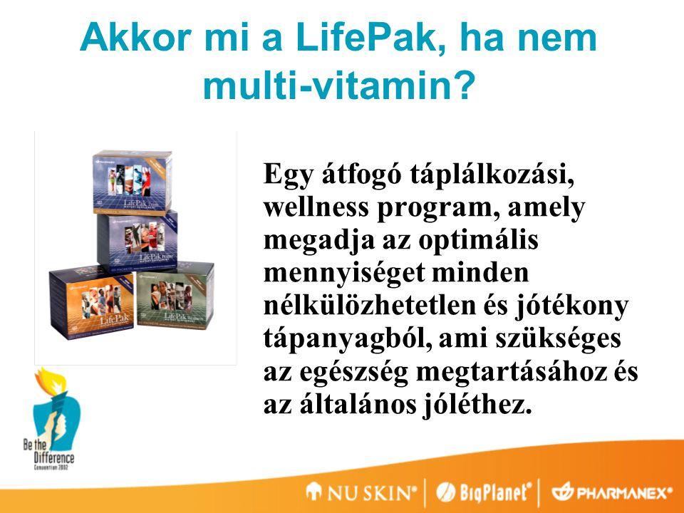  biztosít minden ajánlott tápanyagmennyiséget  figyelembe veszi a tipikus étrendi szokásokat  optimális tápanyagszintet biztosít az egészség megtartásához  Gazdag 'semi essential' tápanyagokban (másodlagos esszenciális) A klasszikus multi-vitaminok nem így vannak felépítve.