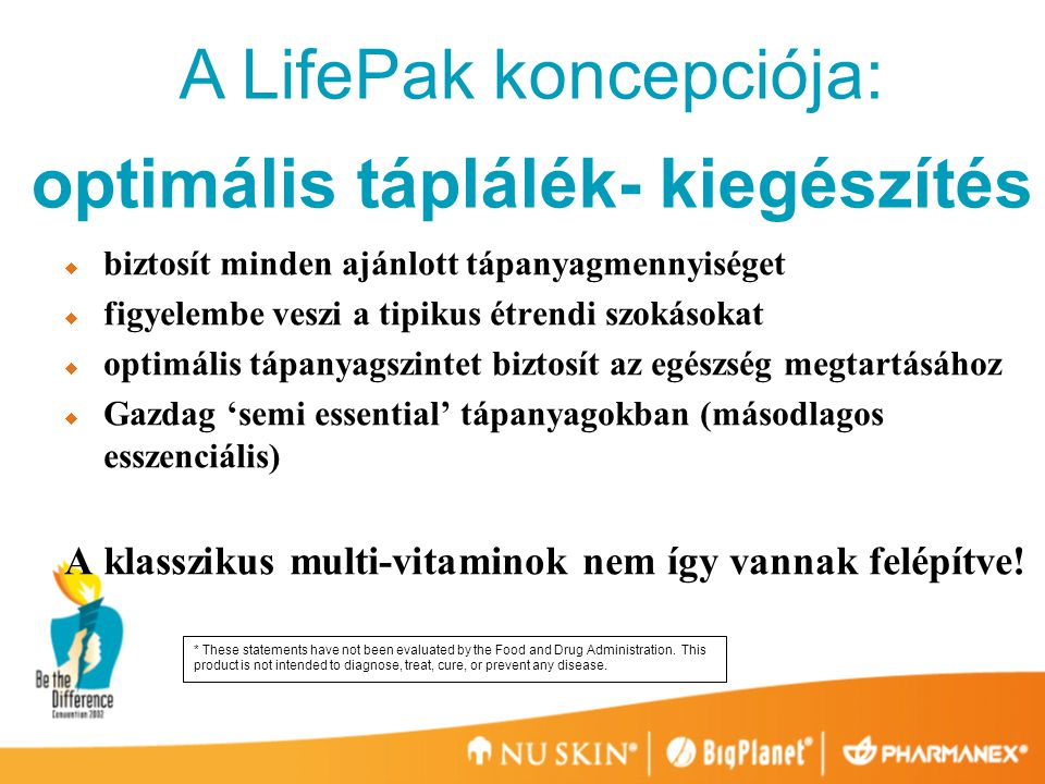 A LifePak hatása az egészségre Optimális tápanyag szintet ad az egészség megtartásához 1.