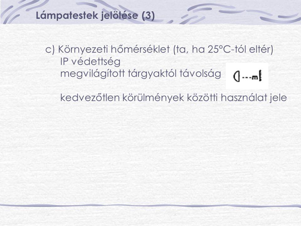 Lámpatestek jelölése (3) c) Környezeti hőmérséklet (ta, ha 25°C-tól eltér) IP védettség megvilágított tárgyaktól távolság kedvezőtlen körülmények közö