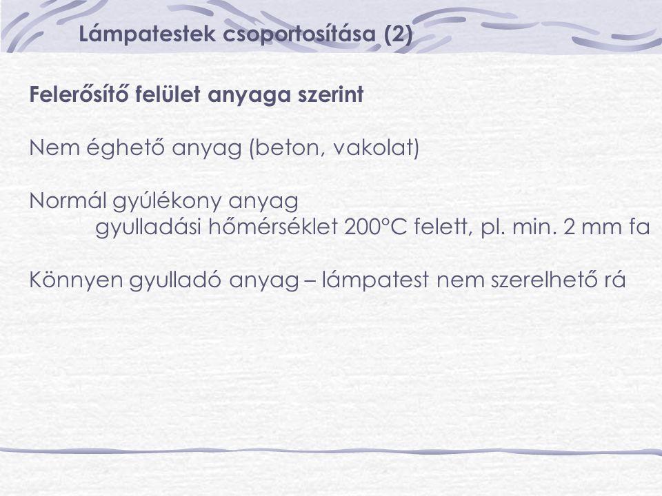 Lámpatestek csoportosítása (2) Felerősítő felület anyaga szerint Nem éghető anyag (beton, vakolat) Normál gyúlékony anyag gyulladási hőmérséklet 200°C