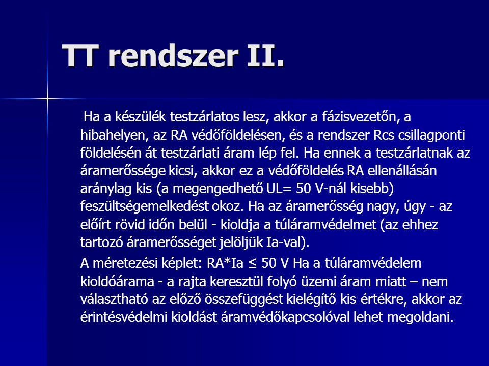 TT rendszer II. Ha a készülék testzárlatos lesz, akkor a fázisvezetőn, a hibahelyen, az RA védőföldelésen, és a rendszer Rcs csillagponti földelésén á