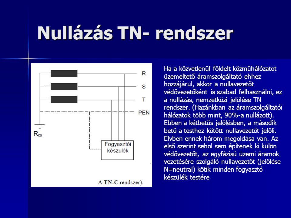 Nullázás TN- rendszer Ha a közvetlenül földelt közműhálózatot üzemeltető áramszolgáltató ehhez hozzájárul, akkor a nullavezetőt védővezetőként is szab