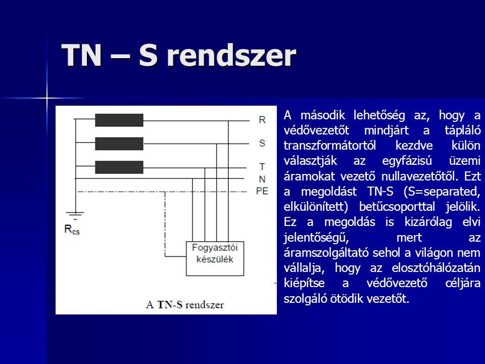 TN – S rendszer A második lehetőség az, hogy a védővezetőt mindjárt a tápláló transzformátortól kezdve külön választják az egyfázisú üzemi áramokat ve