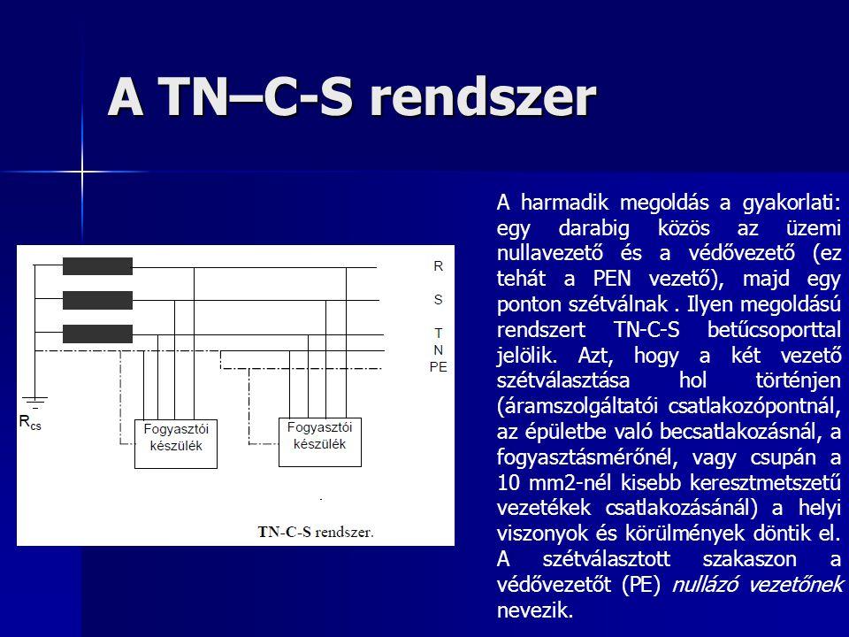 A TN–C-S rendszer A harmadik megoldás a gyakorlati: egy darabig közös az üzemi nullavezető és a védővezető (ez tehát a PEN vezető), majd egy ponton sz