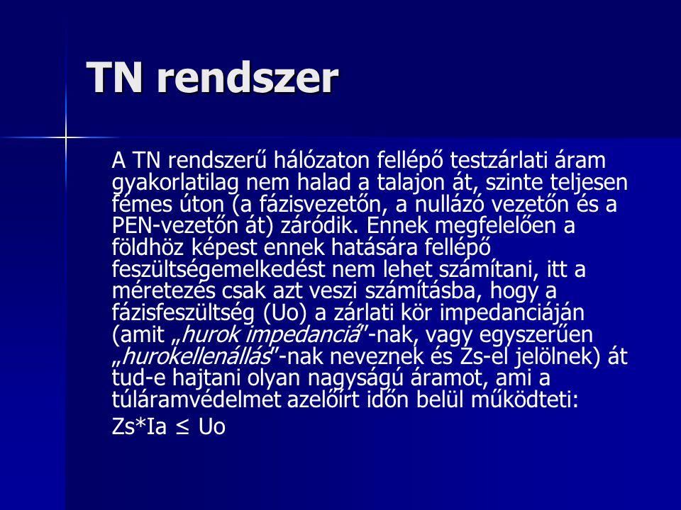 TN rendszer A TN rendszerű hálózaton fellépő testzárlati áram gyakorlatilag nem halad a talajon át, szinte teljesen fémes úton (a fázisvezetőn, a null
