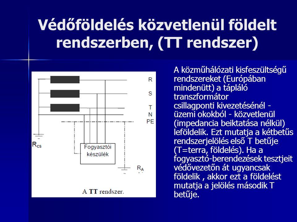 Védőföldelés közvetlenül földelt rendszerben, (TT rendszer) A közműhálózati kisfeszültségű rendszereket (Európában mindenütt) a tápláló transzformátor