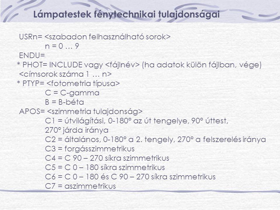 Lámpatestek fénytechnikai tulajdonságai USRn= n = 0 … 9 ENDU= * PHOT= INCLUDE vagy (ha adatok külön fájlban, vége) * PTYP= C = C-gamma B = B-béta APOS