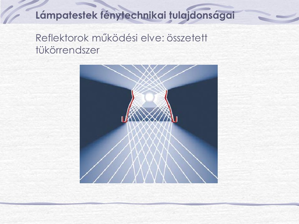 Lámpatestek fénytechnikai tulajdonságai Reflektorok működési elve: összetett tükörrendszer