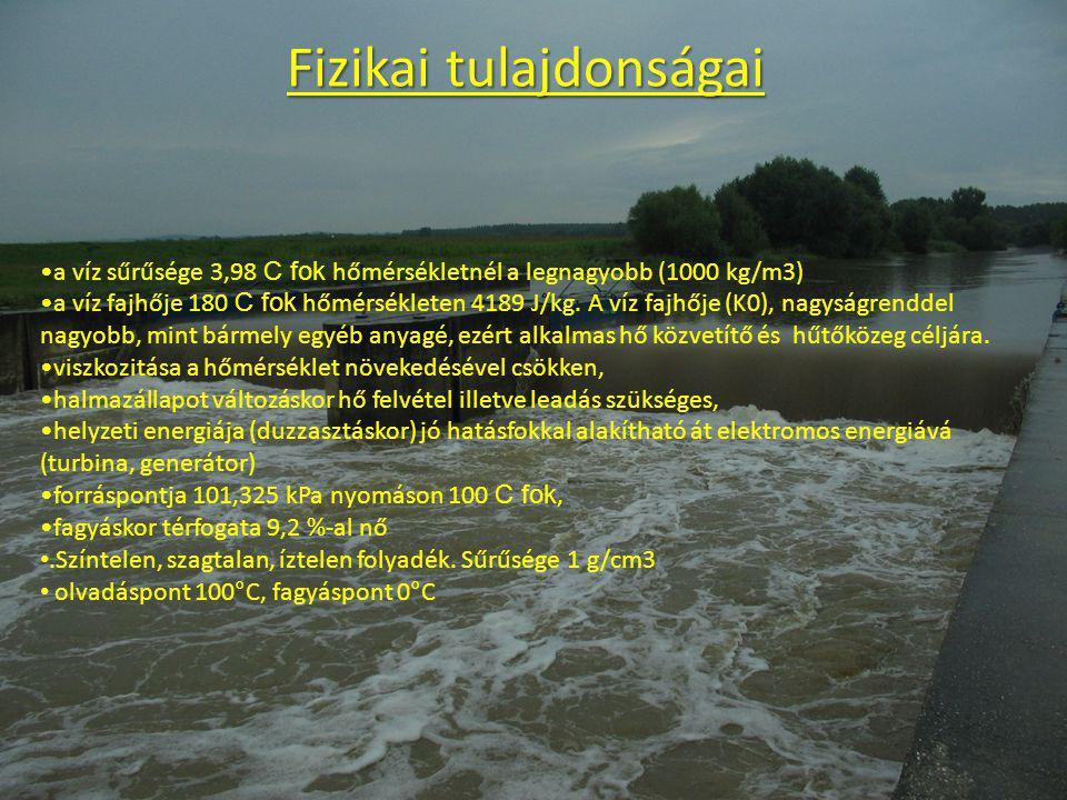 Kémiai tulajdonságai A víz összetétele H2O. Mivel a természetben a hidrogénnek három (1H, 2H, 3H ), az oxigénnek hat (14O, 15O, 16O, 17O, 18O, 19O) iz