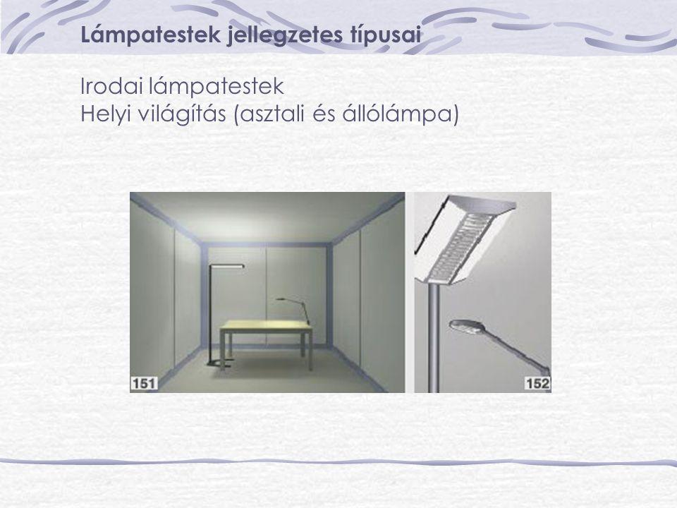 Lámpatestek jellegzetes típusai Irodai lámpatestek Helyi világítás (asztali és állólámpa)