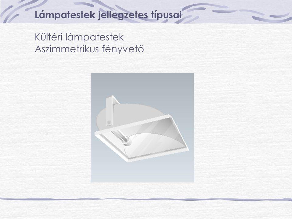 Lámpatestek jellegzetes típusai Kültéri lámpatestek Aszimmetrikus fényvető