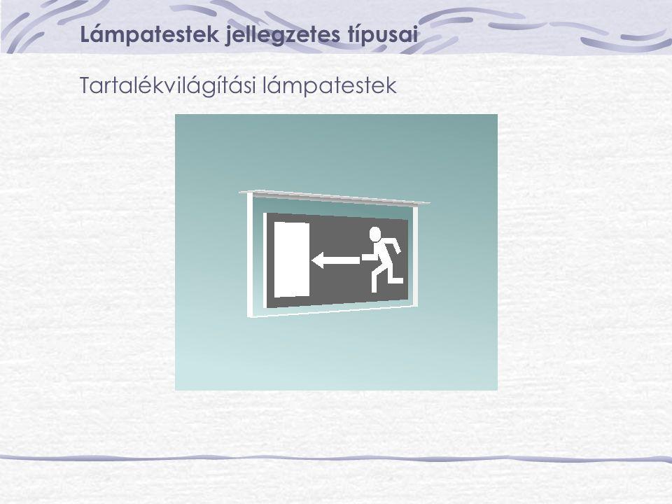 Lámpatestek jellegzetes típusai Tartalékvilágítási lámpatestek