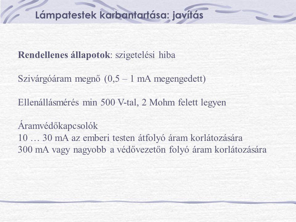 Rendellenes állapotok: szigetelési hiba Szivárgóáram megnő (0,5 – 1 mA megengedett) Ellenállásmérés min 500 V-tal, 2 Mohm felett legyen Áramvédőkapcso