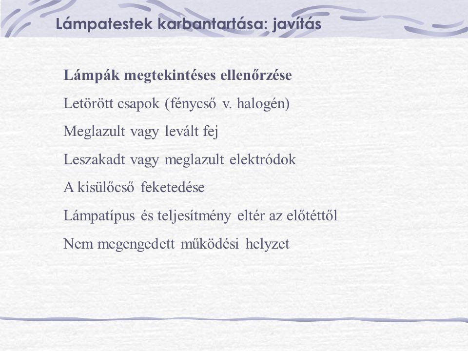 Lámpák megtekintéses ellenőrzése Letörött csapok (fénycső v. halogén) Meglazult vagy levált fej Leszakadt vagy meglazult elektródok A kisülőcső fekete