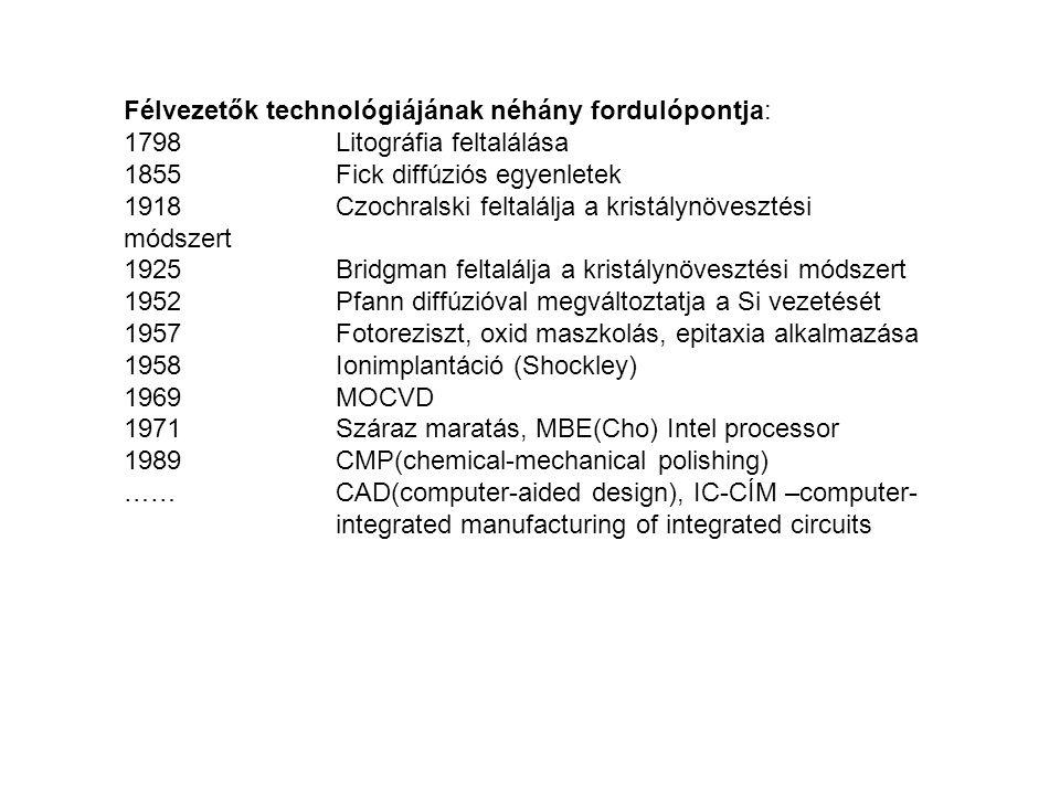 Félvezetők technológiájának néhány fordulópontja: 1798Litográfia feltalálása 1855Fick diffúziós egyenletek 1918Czochralski feltalálja a kristálynövesz