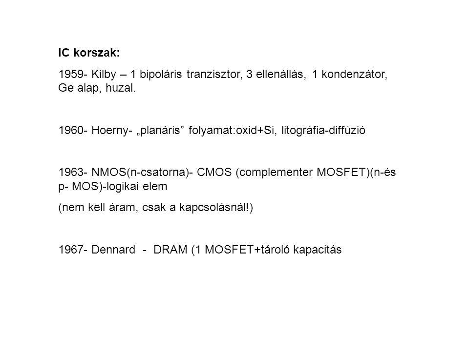 """IC korszak: 1959- Kilby – 1 bipoláris tranzisztor, 3 ellenállás, 1 kondenzátor, Ge alap, huzal. 1960- Hoerny- """"planáris"""" folyamat:oxid+Si, litográfia-"""
