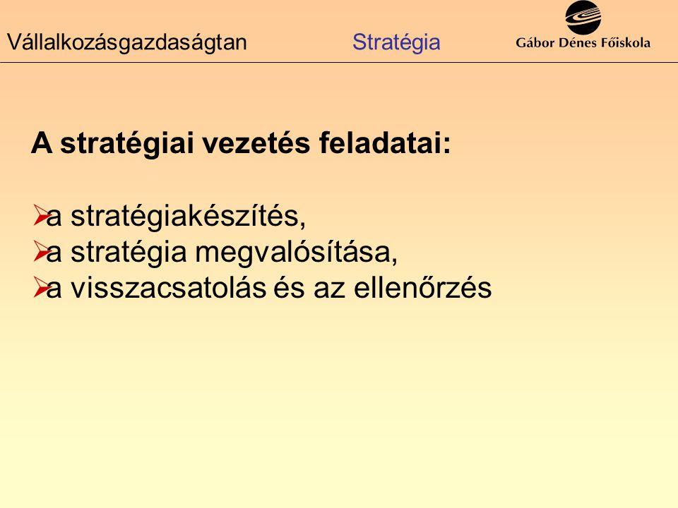 A stratégiai vezetés feladatai: aa stratégiakészítés, aa stratégia megvalósítása, aa visszacsatolás és az ellenőrzés