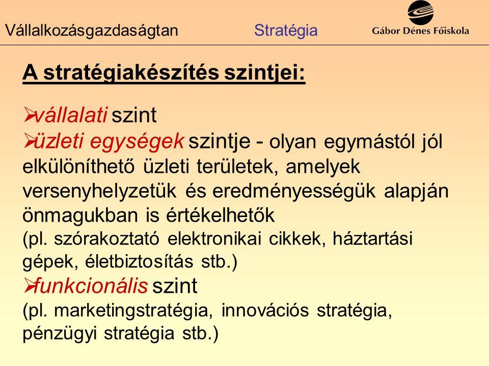 A stratégiakészítés szintjei: vvállalati szint üüzleti egységek szintje - olyan egymástól jól elkülöníthető üzleti területek, amelyek versenyhelyz