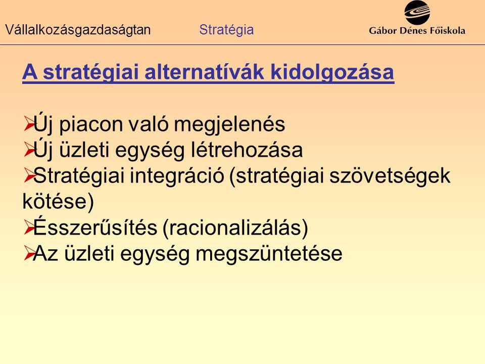 A stratégiai alternatívák kidolgozása ÚÚj piacon való megjelenés ÚÚj üzleti egység létrehozása SStratégiai integráció (stratégiai szövetségek kö