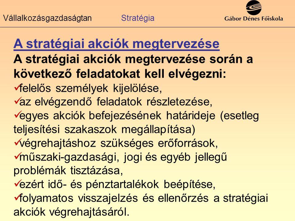 A stratégiai akciók megtervezése A stratégiai akciók megtervezése során a következő feladatokat kell elvégezni: felelős személyek kijelölése, az elvég