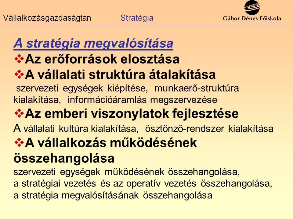 A stratégia megvalósítása AAz erőforrások elosztása AA vállalati struktúra átalakítása szervezeti egységek kiépítése, munkaerő-struktúra kialakítá