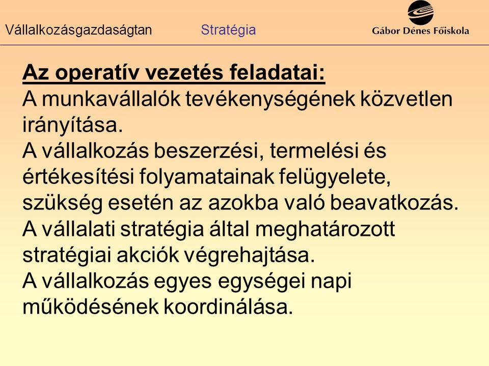 Az operatív vezetés feladatai: A munkavállalók tevékenységének közvetlen irányítása. A vállalkozás beszerzési, termelési és értékesítési folyamatainak