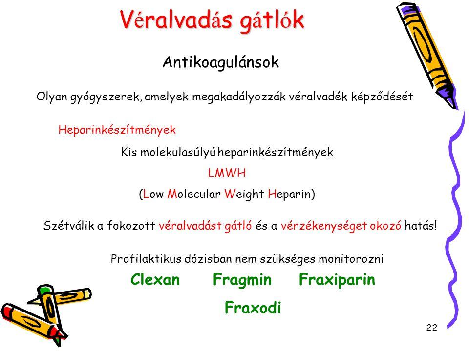 22 V é ralvad á s g á tl ó k Antikoagulánsok Olyan gyógyszerek, amelyek megakadályozzák véralvadék képződését Heparinkészítmények Kis molekulasúlyú he