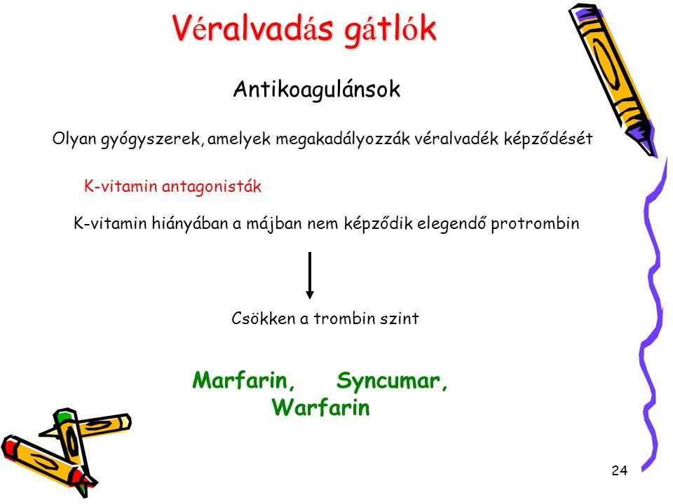 24 V é ralvad á s g á tl ó k Antikoagulánsok Olyan gyógyszerek, amelyek megakadályozzák véralvadék képződését K-vitamin antagonisták K-vitamin hiányáb