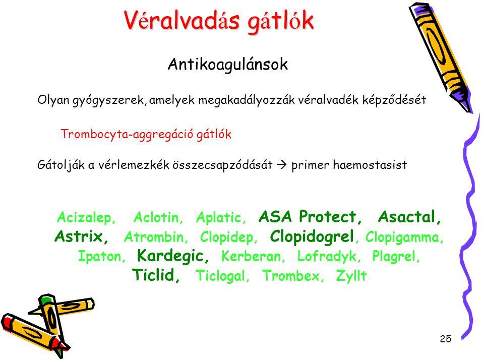25 V é ralvad á s g á tl ó k Antikoagulánsok Olyan gyógyszerek, amelyek megakadályozzák véralvadék képződését Trombocyta-aggregáció gátlók Gátolják a