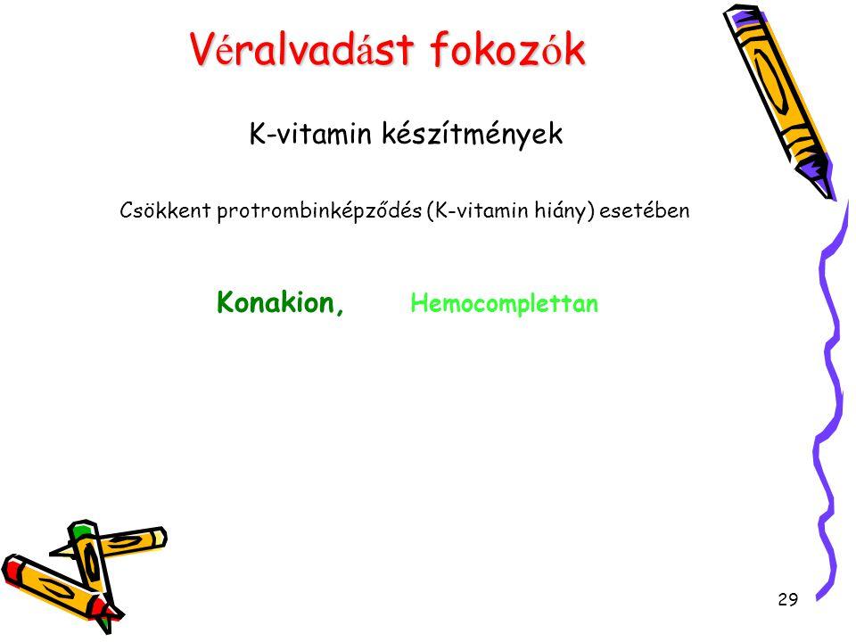 29 V é ralvad á st fokoz ó k K-vitamin készítmények Csökkent protrombinképződés (K-vitamin hiány) esetében Konakion, Hemocomplettan