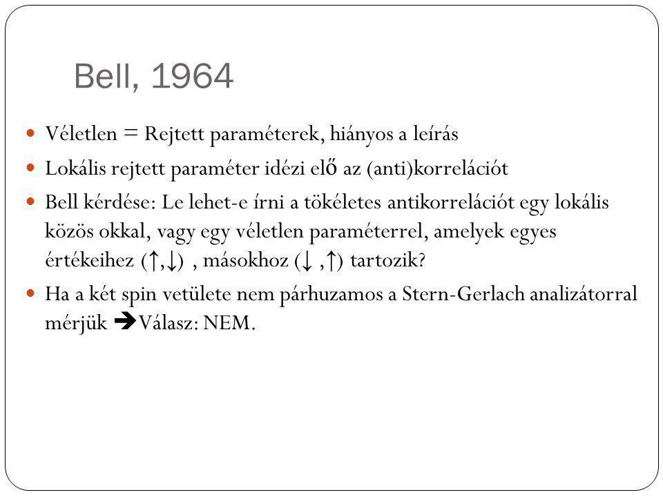 Bell, 1964 Véletlen = Rejtett paraméterek, hiányos a leírás Lokális rejtett paraméter idézi el ő az (anti)korrelációt Bell kérdése: Le lehet-e írni a