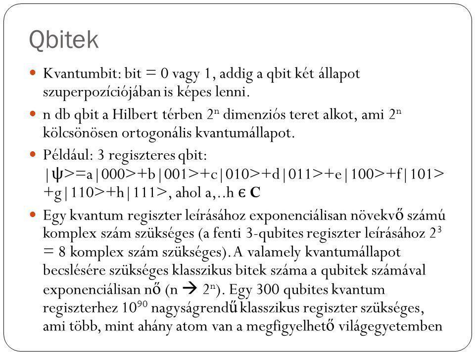 Qbitek Kvantumbit: bit = 0 vagy 1, addig a qbit két állapot szuperpozíciójában is képes lenni. n db qbit a Hilbert térben 2 n dimenziós teret alkot, a