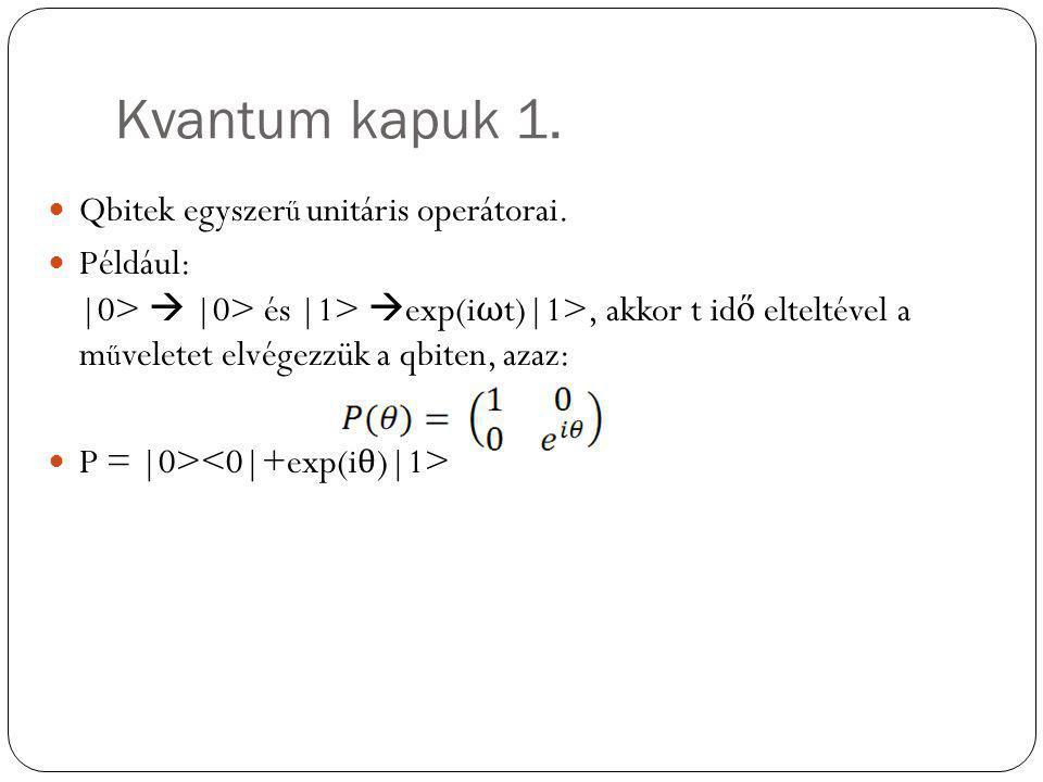 Kvantum kapuk 1. Qbitek egyszer ű unitáris operátorai. Például: |0>  |0> és |1>  exp(i ω t)|1>, akkor t id ő elteltével a m ű veletet elvégezzük a q
