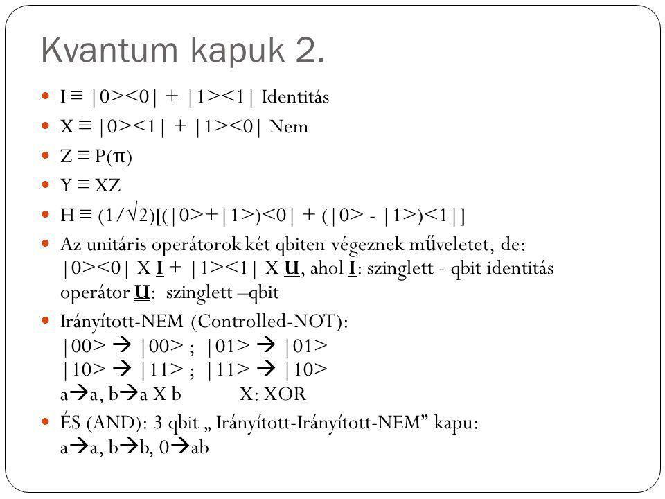Kvantum kapuk 2. I ≡ |0> <1| Identitás X ≡ |0> <0| Nem Z ≡ P( π ) Y ≡ XZ H ≡ (1/√2)[(|0>+|1>) - |1>)<1|] Az unitáris operátorok két qbiten végeznek m