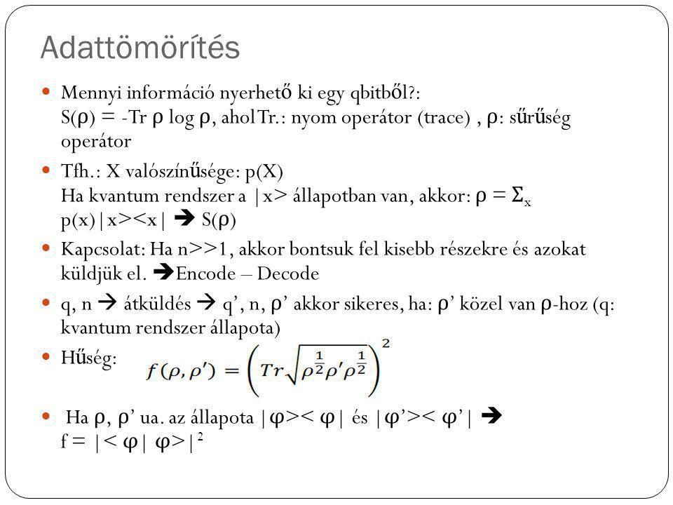 Adattömörítés Mennyi információ nyerhet ő ki egy qbitb ő l?: S( ρ ) = -Tr ρ log ρ, ahol Tr.: nyom operátor (trace), ρ : s ű r ű ség operátor Tfh.: X v