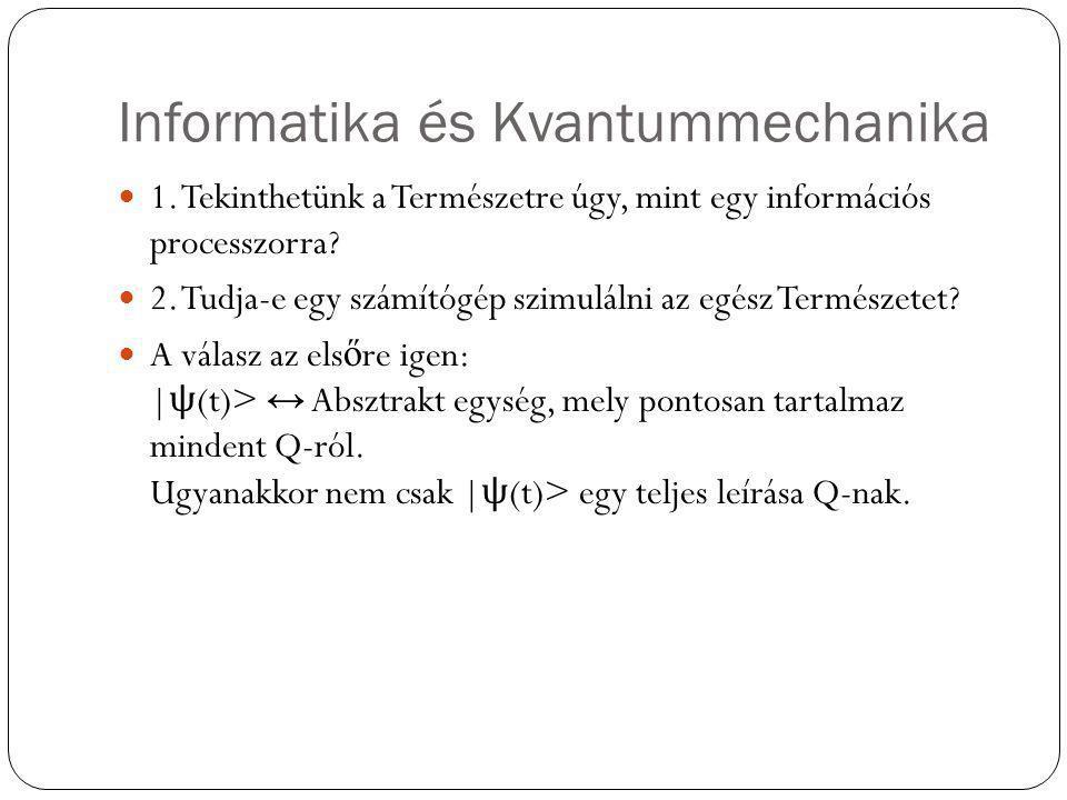 Informatika és Kvantummechanika 1. Tekinthetünk a Természetre úgy, mint egy információs processzorra? 2. Tudja-e egy számítógép szimulálni az egész Te