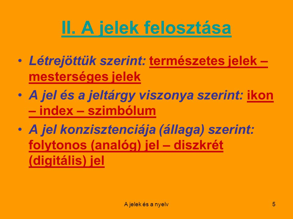 A jelek és a nyelv6 II.1.