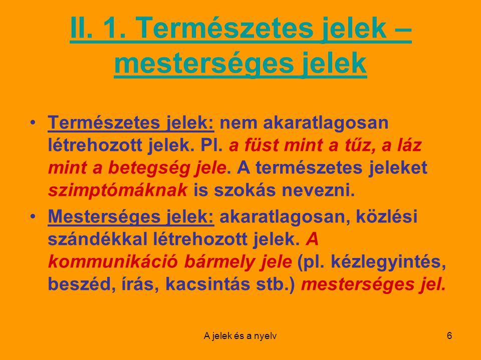 A jelek és a nyelv17 A nyelv heterogén jelek rendszere: a beszédhangok, szavak, mondatok stb.