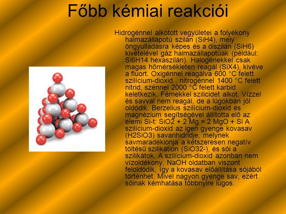Főbb kémiai reakciói Hidrogénnel alkotott vegyületei a folyékony halmazállapotú szilán (SiH4), mely öngyulladásra képes és a diszilán (SiH6) kivételév