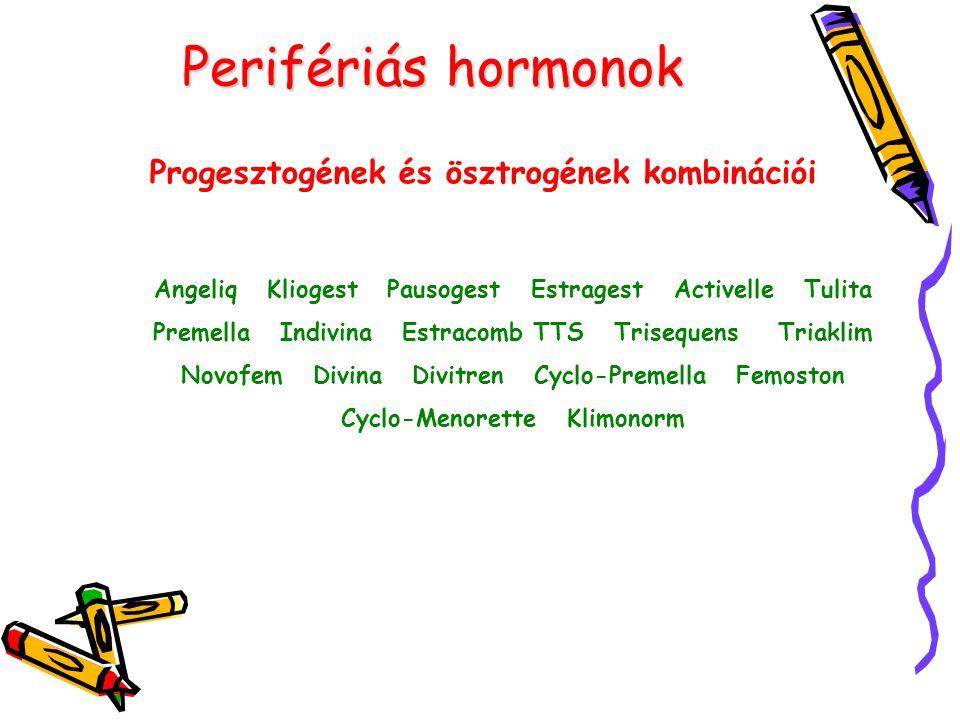 Perifériás hormonok Progesztogének és ösztrogének kombinációi Angeliq Kliogest Pausogest Estragest Activelle Tulita Premella Indivina Estracomb TTS Tr