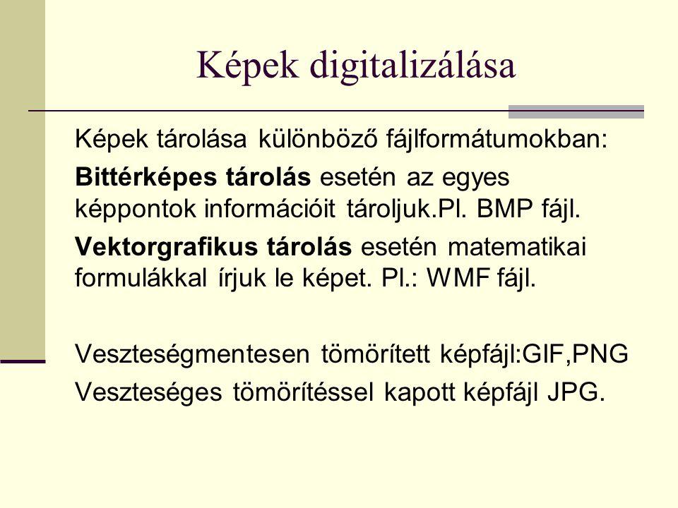 Képek digitalizálása Képek tárolása különböző fájlformátumokban: Bittérképes tárolás esetén az egyes képpontok információit tároljuk.Pl.