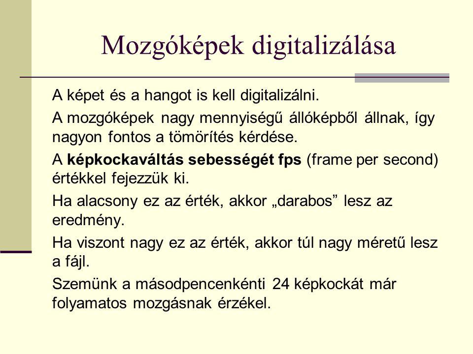 Mozgóképek digitalizálása A képet és a hangot is kell digitalizálni.