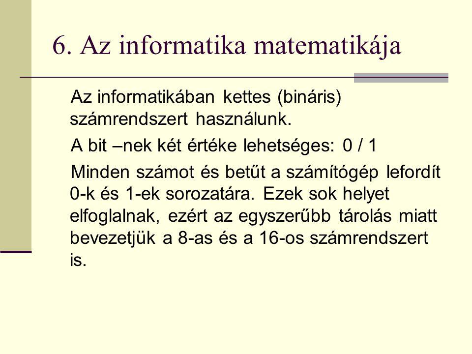 6.Az informatika matematikája Az informatikában kettes (bináris) számrendszert használunk.