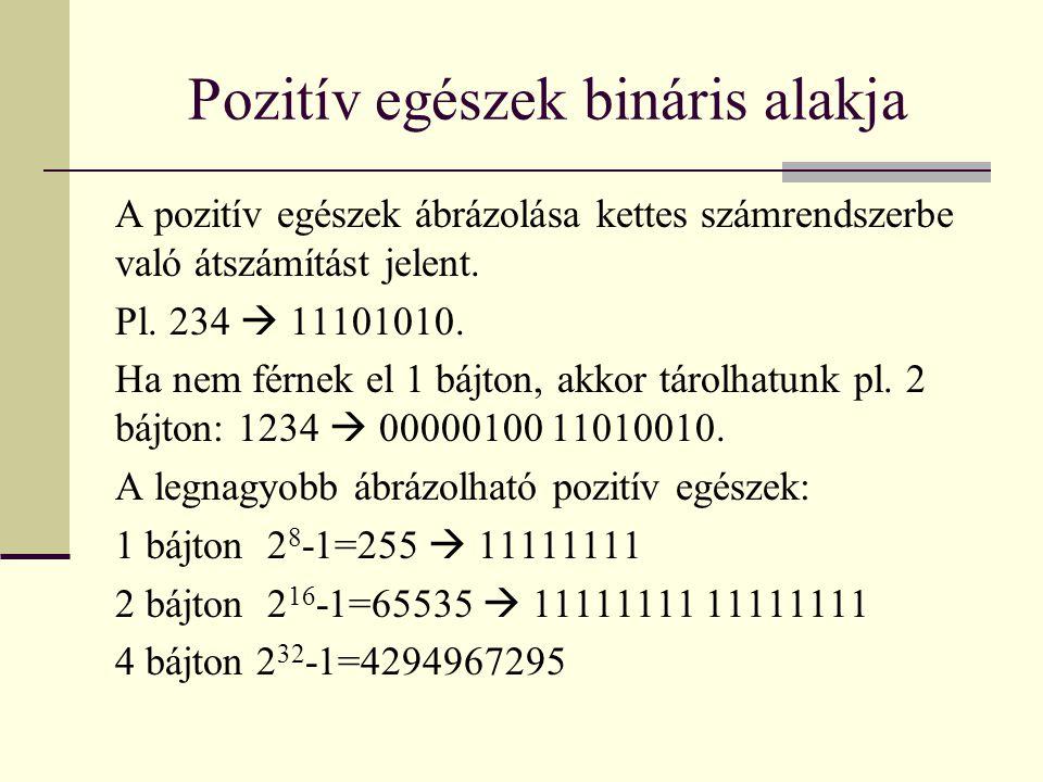 Pozitív egészek bináris alakja A pozitív egészek ábrázolása kettes számrendszerbe való átszámítást jelent.
