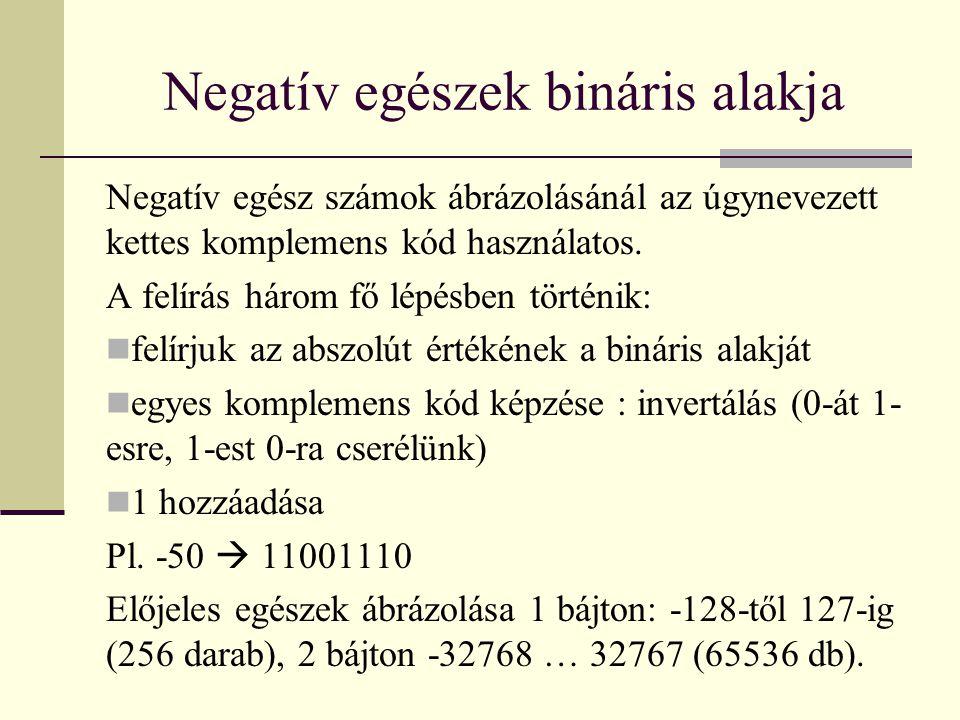 Negatív egészek bináris alakja Negatív egész számok ábrázolásánál az úgynevezett kettes komplemens kód használatos.