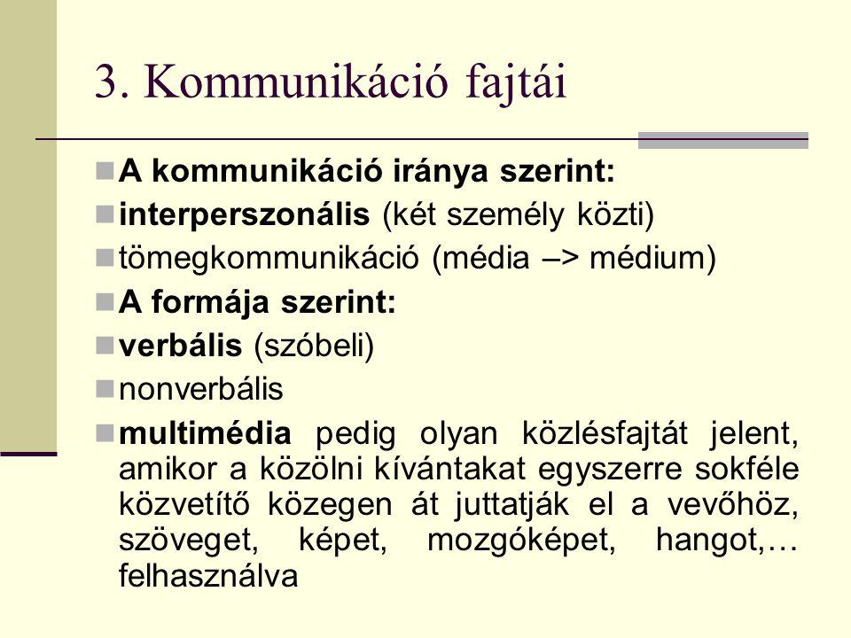 3. Kommunikáció fajtái A kommunikáció iránya szerint: interperszonális (két személy közti) tömegkommunikáció (média –> médium) A formája szerint: verb