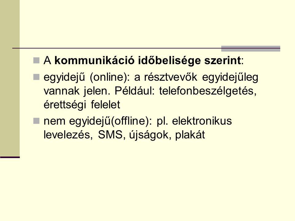 A kommunikáció időbelisége szerint: egyidejű (online): a résztvevők egyidejűleg vannak jelen.