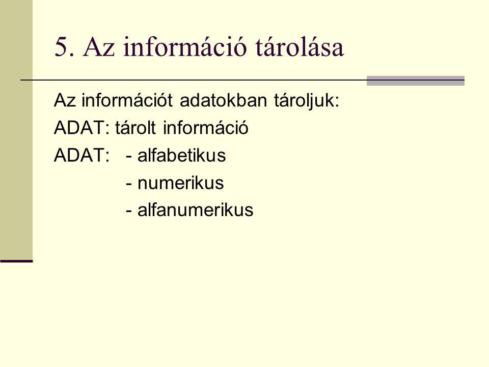 5. Az információ tárolása Az információt adatokban tároljuk: ADAT: tárolt információ ADAT: - alfabetikus - numerikus - alfanumerikus